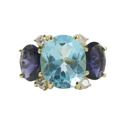 Large GUM DROP™ Ring with Blue Topaz and Iolite and Diamonds