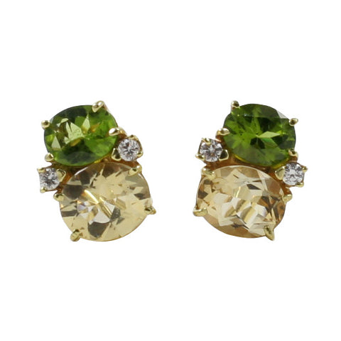 Medium GUM DROP™ Earrings with Peridot and Citrine and Diamonds