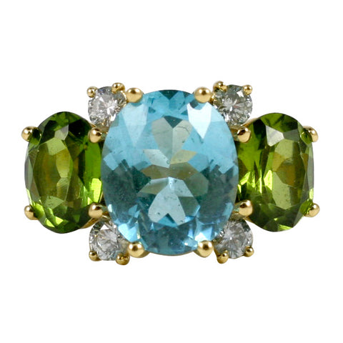 Large GUM DROP™ Ring with Blue Topaz and Peridot and Diamonds