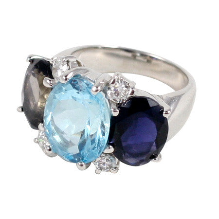 Medium 18kt White Gold Gum Drop Ring with Blue Topaz and Iolite