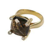 18kt Yellow Gold faceted Cushion Ring with Smoky Topaz and Diamonds