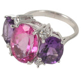 Large GUM DROP™ Ring with Pink Topaz and Amethyst and Diamonds