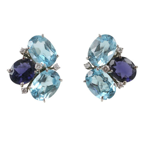 Blue Topaz and Iolite Pebble Earrings