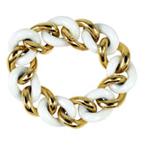 18k Yellow Gold and White Ceramic curb Link Bracelet