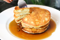 Good Dee's Sugar Free Maple Syrup top on pancakes