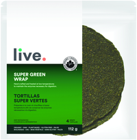 shop Live Organic Super Green Wrap Vegan Low Carb and Keto friendly back nutritional available on SwitchGrocery