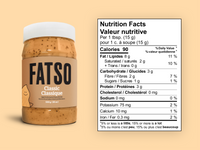 shop Original Fatso Keto Hybrid Vegan Peanut Butter back nutritionals available on SwitchGrocery