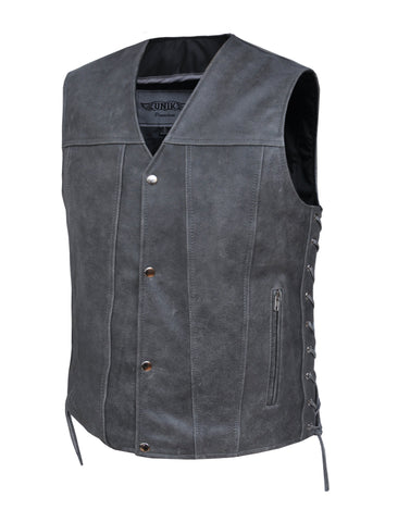 Style # 2611.GN UNIK Men's Tombstone Gray Leather Vest