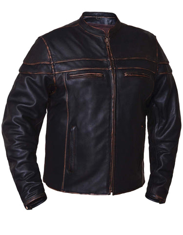 Style # 6037.RUB UNIK Men's Colorado Brown Ultra Leather Motorcycle Jacket