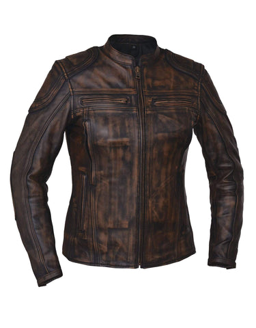 Style # 6831.ABR UNIK Ladies Nevada Brown Ultra Leather Motorcycle Jacket