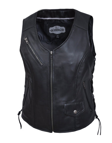 Style # 6892.00 UNIK Ladies Premium Leather Motorcycle Vest