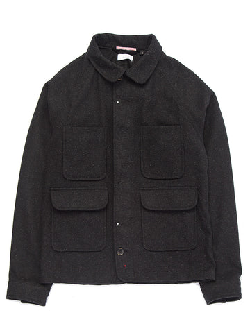 Coated Wool Chore Jacket - Charcoal