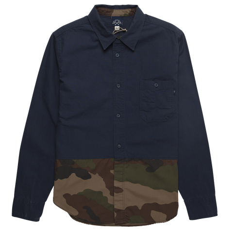 Ripstop Cotton Utility Shirt - Navy / Camo
