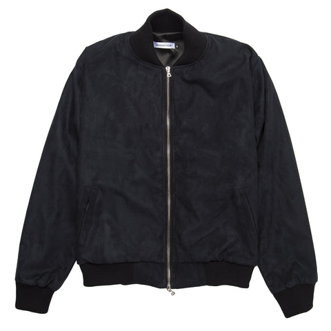 Ultrasuede Zip Bomber Jacket - Black Wash