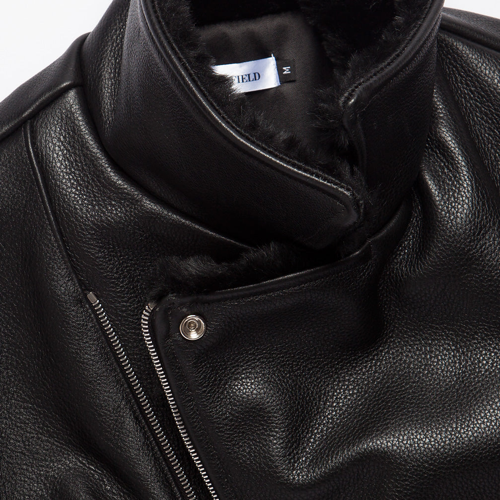 Pebble Grain Leather Moto Jacket  - Black