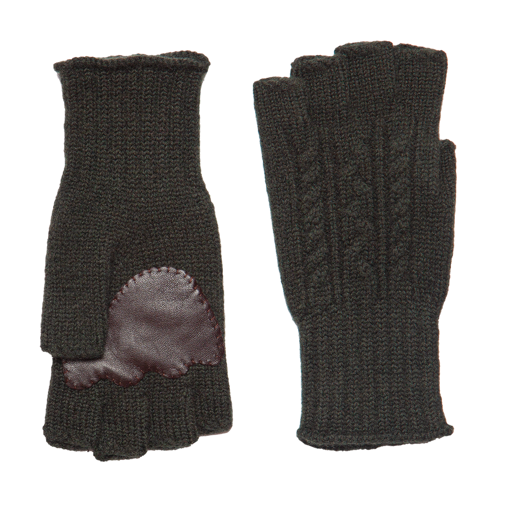 Fingerless Wool Cable knit Gloves - Olive