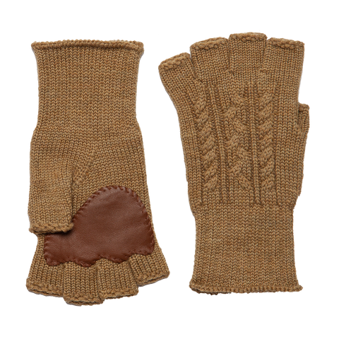 Fingerless Wool Cable knit Gloves - Beige