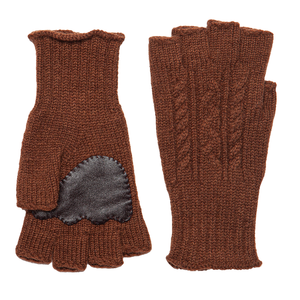 Fingerless Wool Cable knit Gloves - Brown