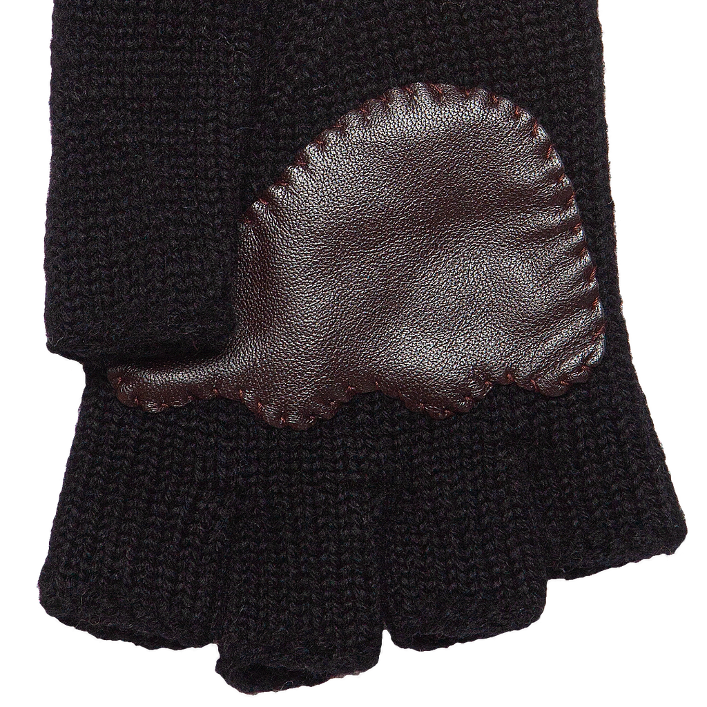 Fingerless Wool Cable knit Gloves - Black