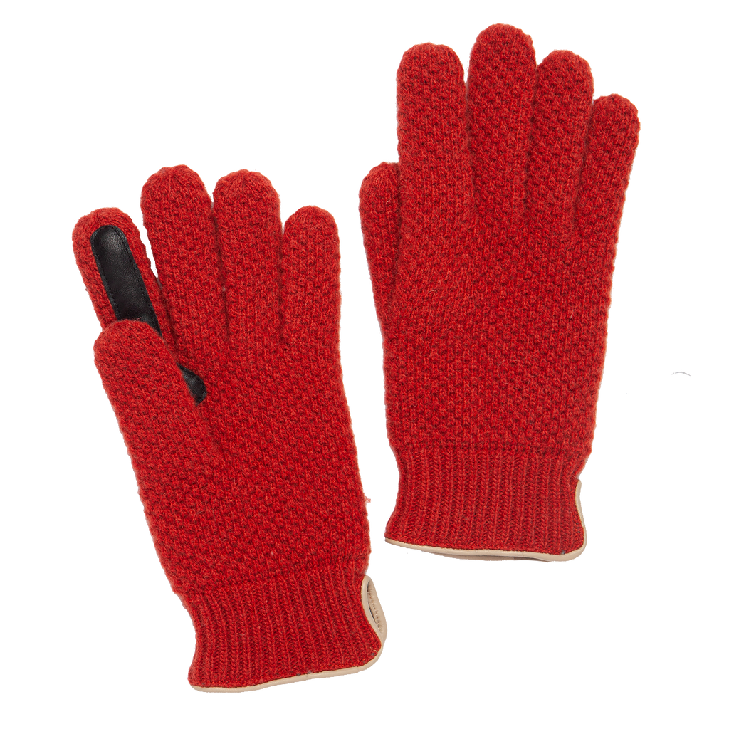 Knitted City Glove - Orange Red