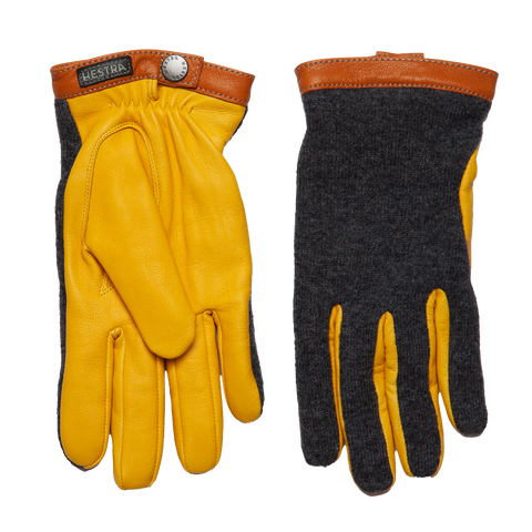 Tricot Merino Wool Deerskin Gloves - Yellow