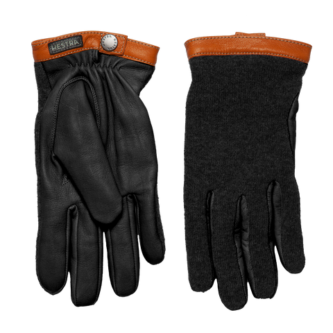 Tricot Merino Wool Deerskin Gloves - Black