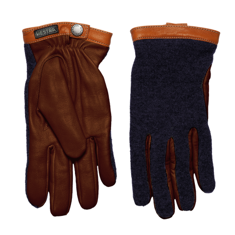 Tricot Merino Wool Deerskin Gloves - Navy