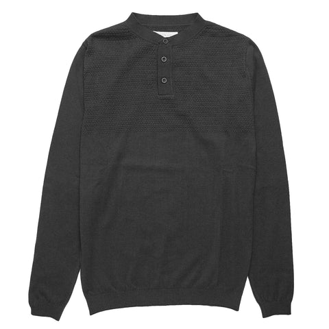 Musselburgh Knitted Henley - Charcoal