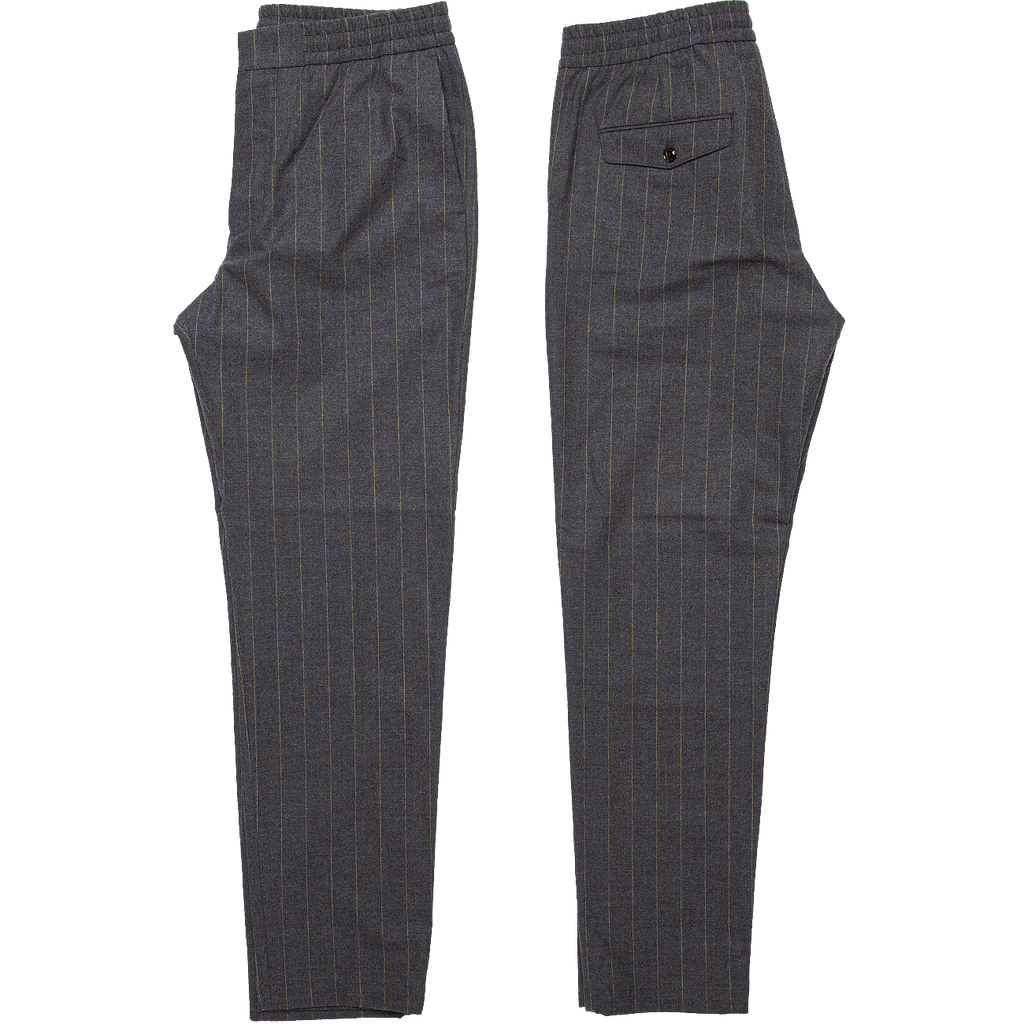Foss Relaxed Wool Trouser - Grey Stripe