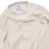 Julian Melange Cotton Knit - Khaki Beige