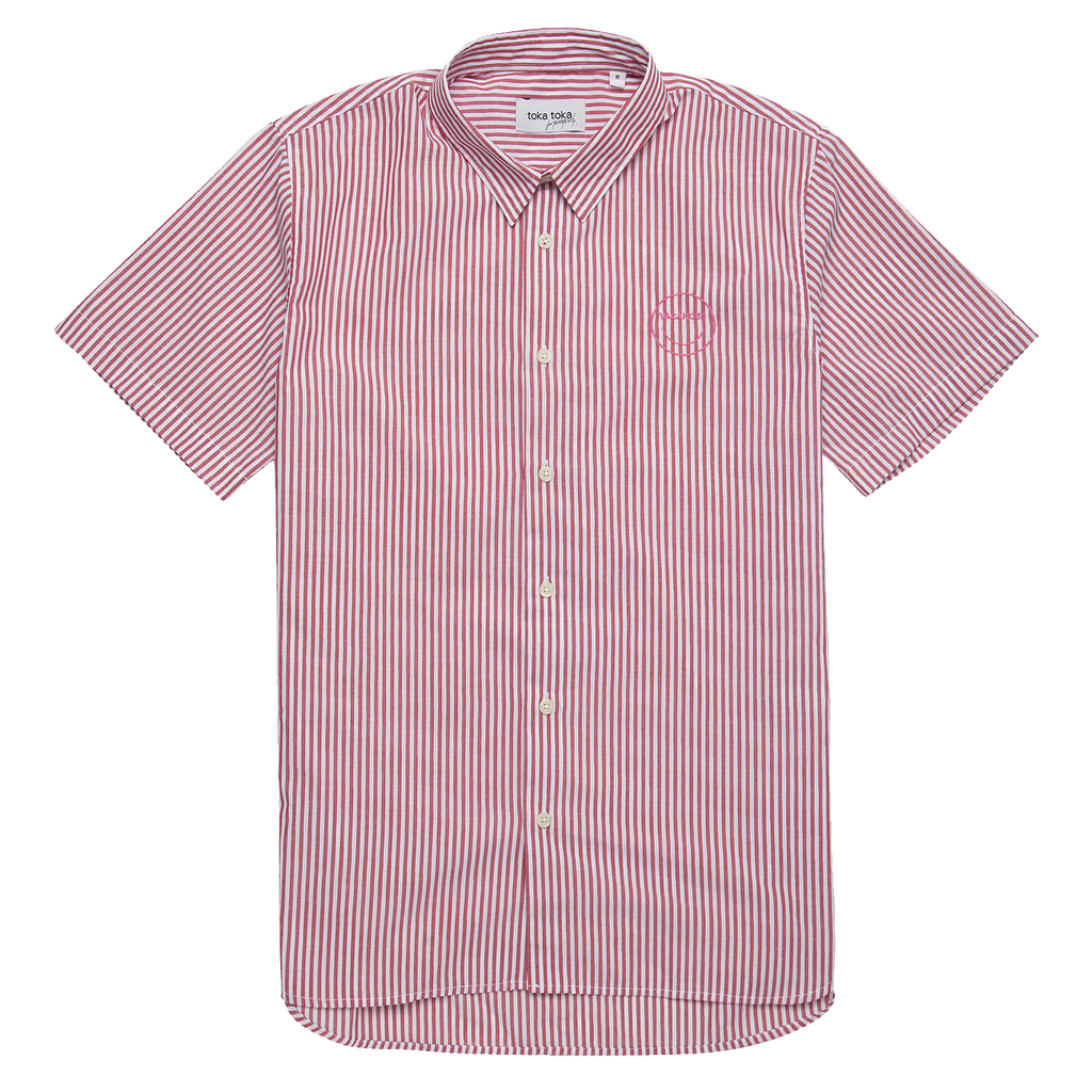 Ringo Embroidered Vacation Shirt - Red Stripes