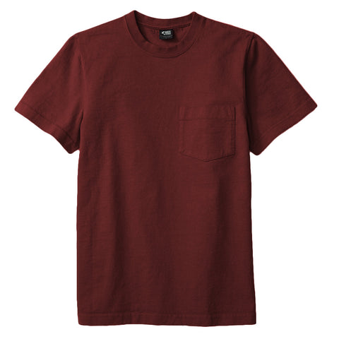 8 OZ Bison Pocket Tee - Burgundy