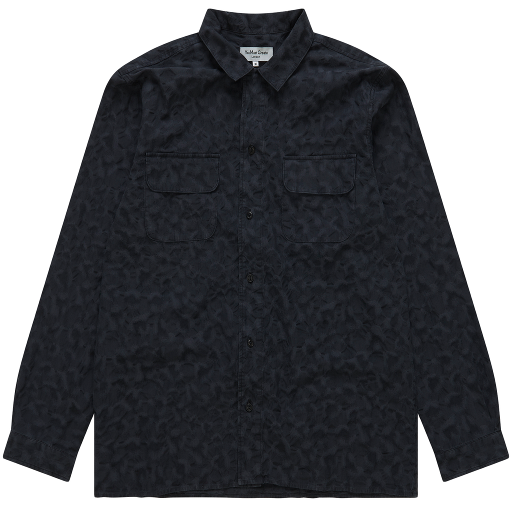 Feathers Jacquard  Shirt - Dusted Black