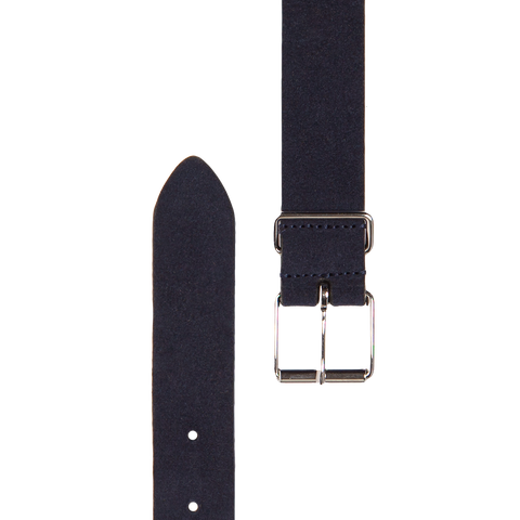 Slim Suede Belt - Navy