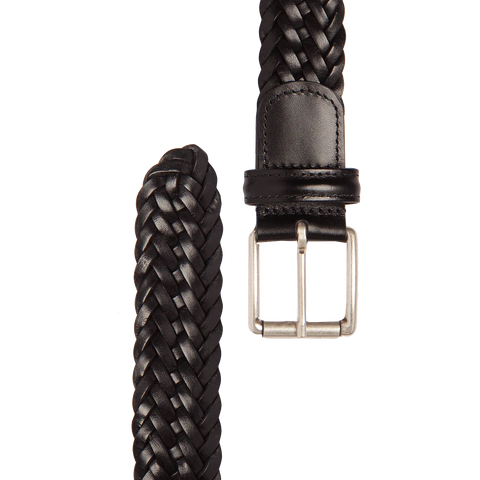 Woven Leather Belt - Black