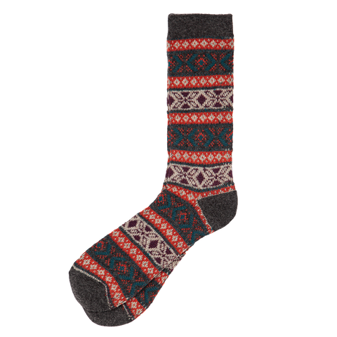 Wool Mix Argyle Crew - Charcoal Orange