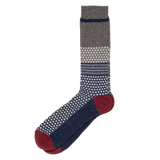 Chestnut JQ Crew Sock - Burgundy Grey