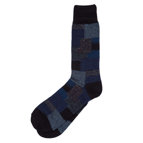 Patchwork Crew Sock - Navy