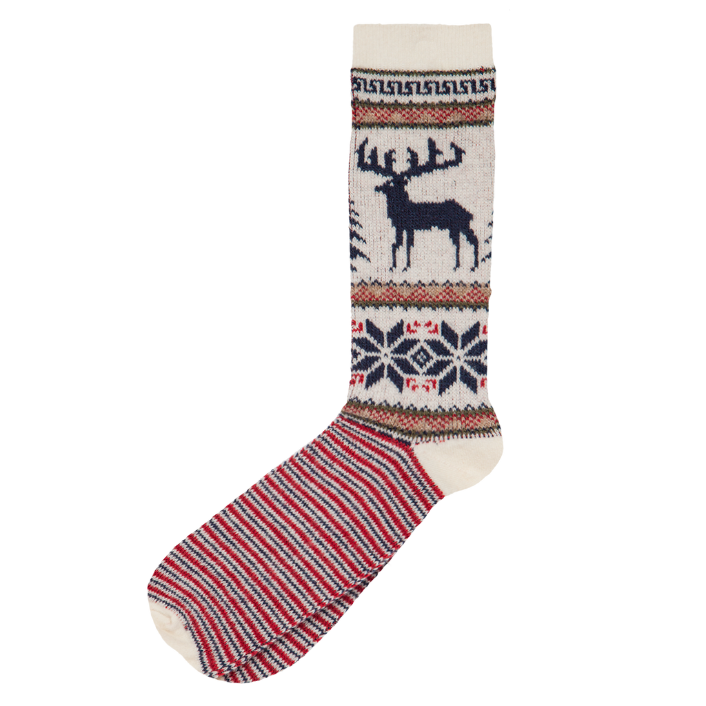 Wool Blend Deer Sock - Off White