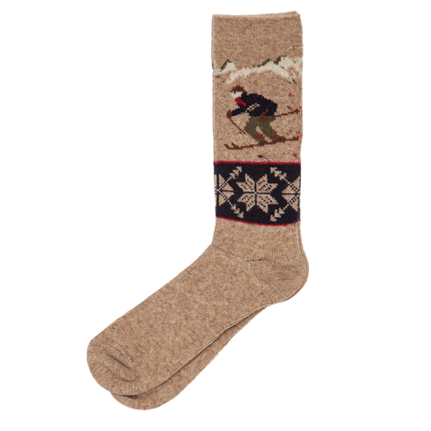 Wool Blend Skier Sock - Brown