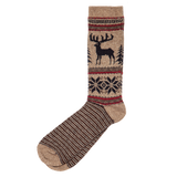 Wool Blend Deer Sock - Brown