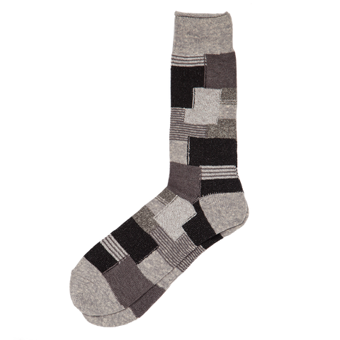 Patchwork Crew Sock - Grey