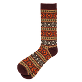 Wool Mix Argyle Crew - Brown Orange