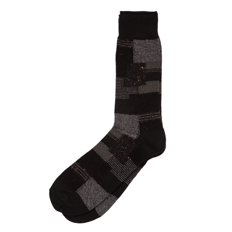 Patchwork Crew Sock - Black