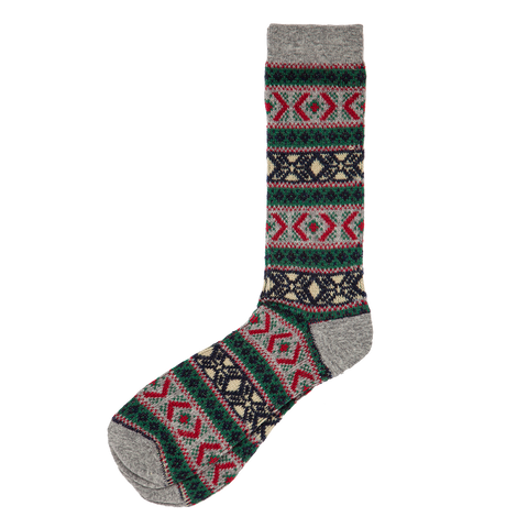 Wool Mix Argyle Crew - Grey Red
