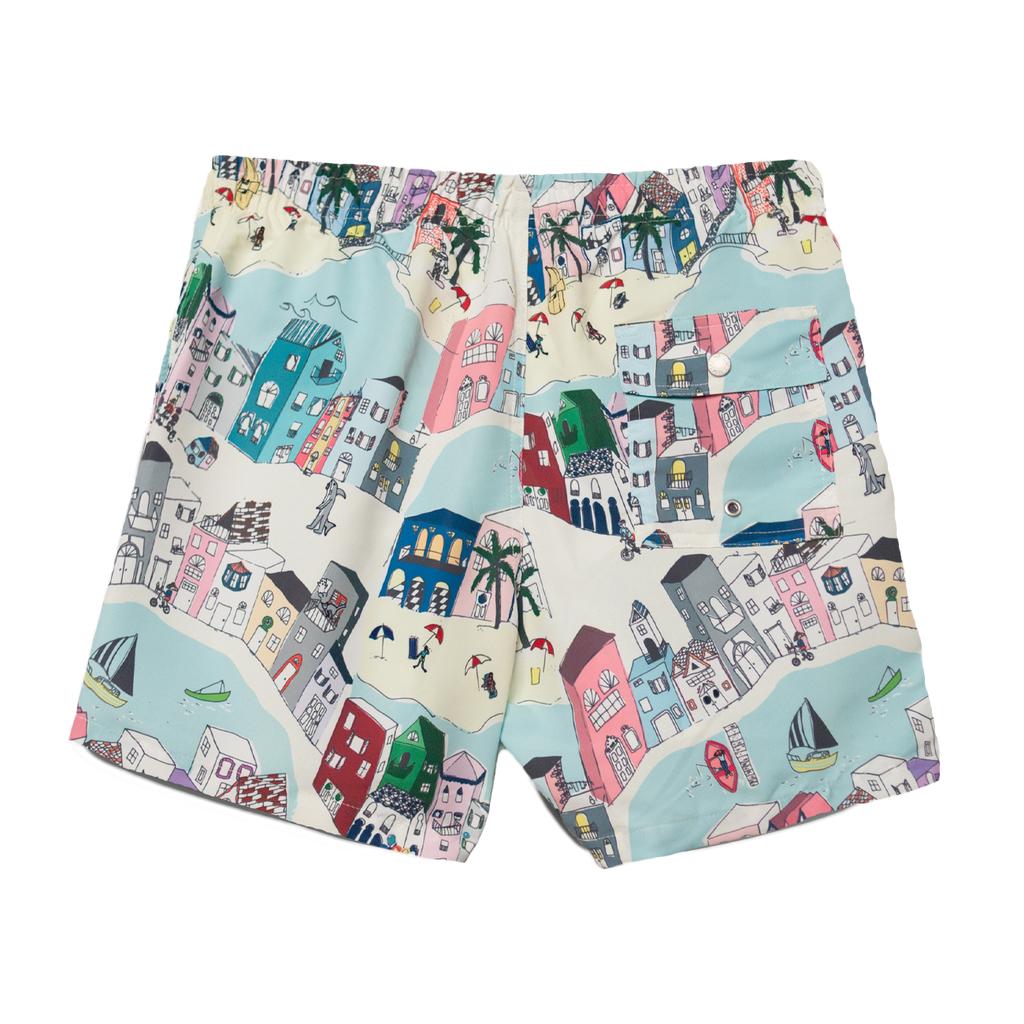 Swim Trunks - Multi Cityscape