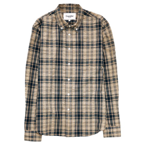 Indigo Seersucker Plaid Shirt - Beige / Indigo