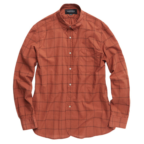 Regular B.D. Shirt - Orange / Charcoal Check