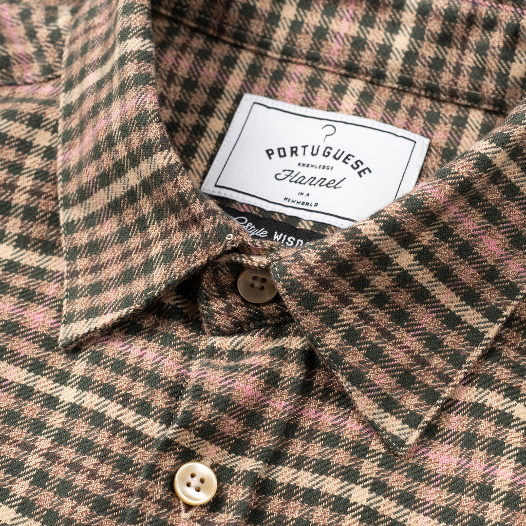Twill Gingham Flannel - Green / Pink