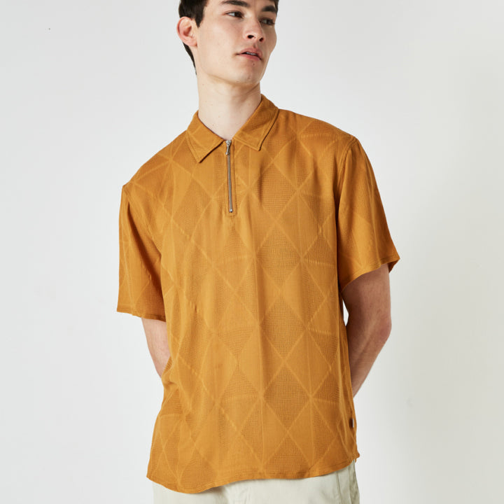 Soprano Zip Polo - Diamond Mustard